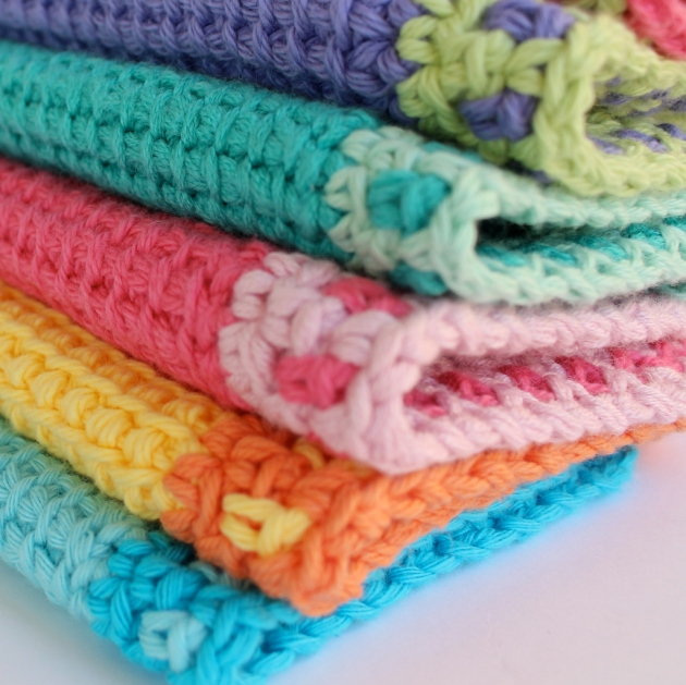Tunisian crochet washcloth by Poppy & Bliss
