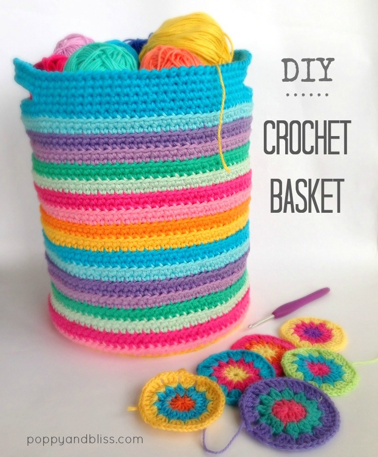 Free Printable Crochet Basket Patterns : Crochet Basket DIY poppyandbliss