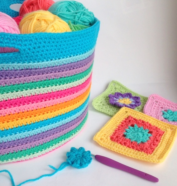 crochet basket by poppyandbliss