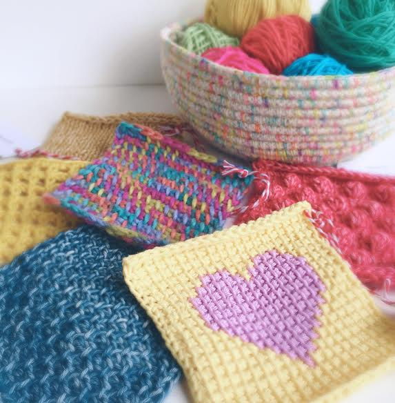 Tunisian Crochet Swatches by Poppy & Bliss