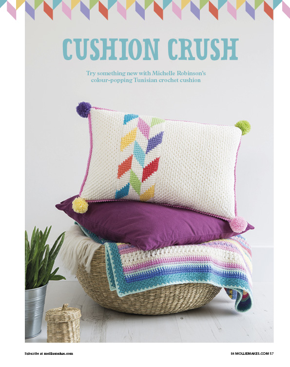 Herringbone Cushion pattern - Mollie Makes issue 84